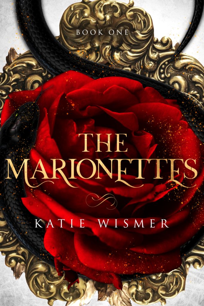 The Marionettes book cover - red rose, black snake, gold embellishment.